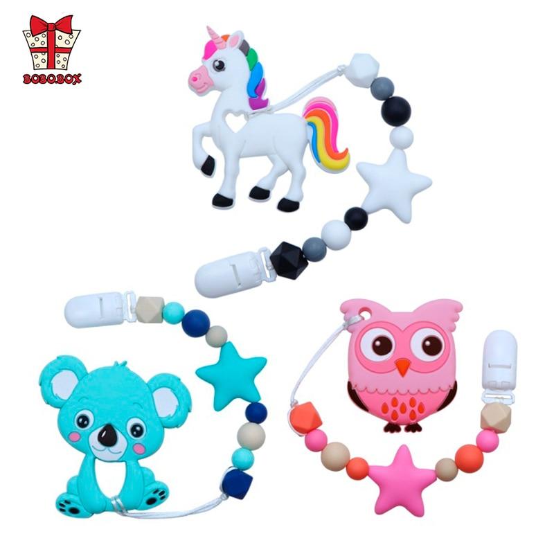 BOBO.BOX Silicone Teether Cartoon Pacifier Clip Chain New Baby Pacifier Clips Newborn Pacifier Chain Clip Holder Nipple Feeding