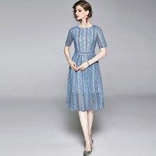 2019 OKOUFEN Summer Europe Round Neck Short Sleeve Blue Embroidered Lace Stripe Dress