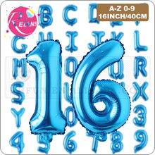 16 Polegada azul letra número folha balão festa de aniversário decorações de casamento hélio bolas de ar letra balão fontes de festa globos