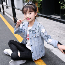 Girl Flower Jacket 2019 Spring Autumn New Fashion Girls Long Sleeve Ripped Hole Jeans Jackets Kids Outerwear Coat for Girls недорого