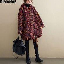 DIMANAF Plus Size Women Coats 2020 Winter New Cashmere Jacket Coats Christmas Pattern Print Parka Design Warm Flocking Outerwear
