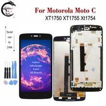 شاشة عرض LCD مقاس 5.0 بوصة بإطار لموتورولا موتو C XT1750 XT1754 XT1755 مع حساس باللمس محول رقمي جديد