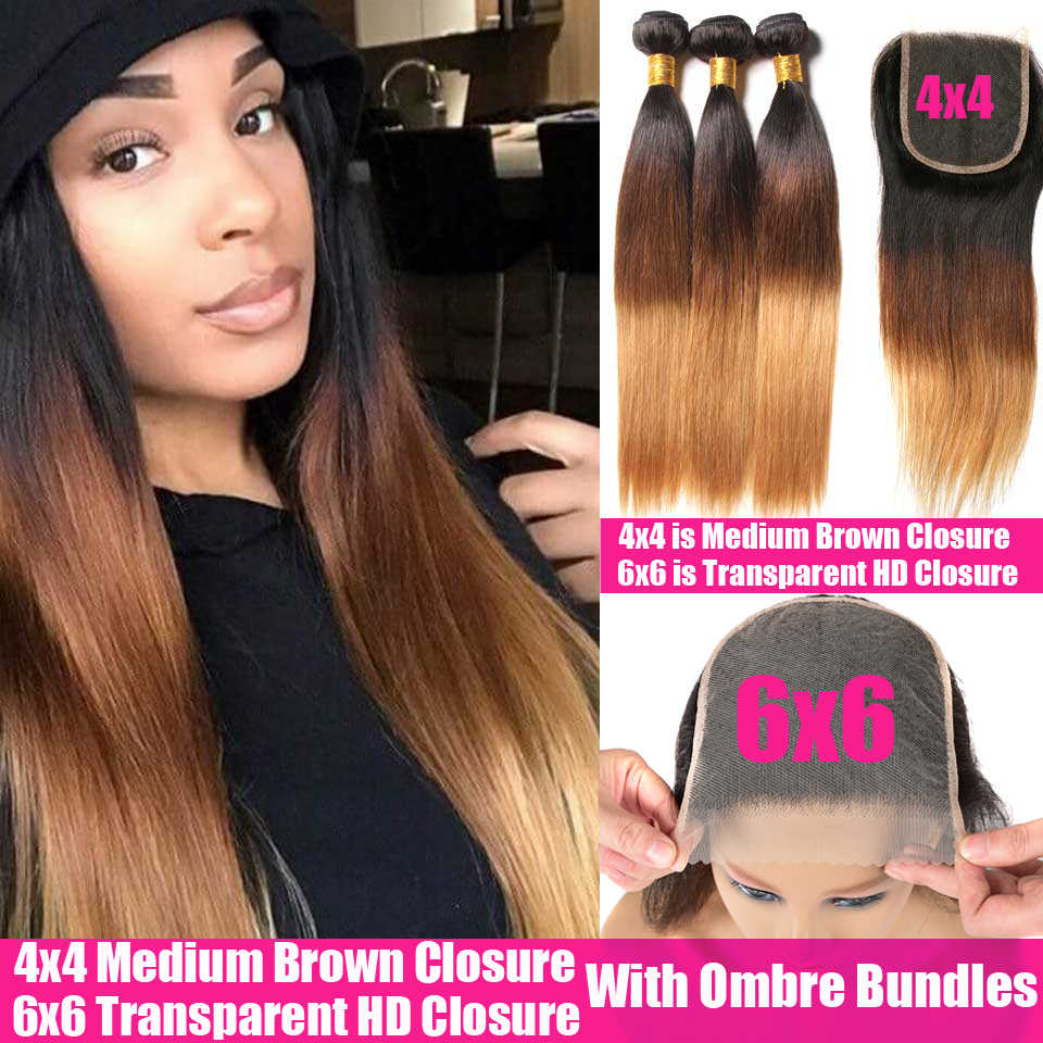Honey Blonde Ombre Straight Human Hair 3/4 Bundles With Transparent HD 6x6 Closure And Bundles Remy Brazilian Hair Weave Bundles