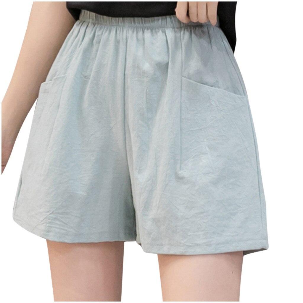 Shorts Women High Waist Women's High Waist Linen Loose Casual Thin Wide Leg Linen Shorts джинсовые шорты  2020