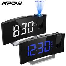 MPOW LED FM projeksiyon 2 Alarm saat çok fonksiyonlu 5 inç kavisli ekran 5 seviye parlaklık 4 ayarlanabilir Alarm sesler