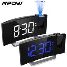 MPOW horloge multifonction de Projection 2 alarmes, écran incurvé de 5 pouces, luminosité daffichage, 4 sons dalarme réglables, FM LED