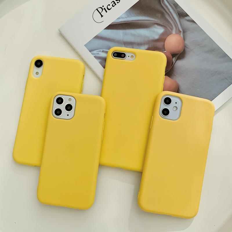 Yellow Silicone Case For Samsung Galaxy A71 A51 5G A31 A41 A11 M31 S6 S7 Note 8 9 10 S10 Lite 2020 A9 A8 A7 A6 J6 Plus 2018 Etui image