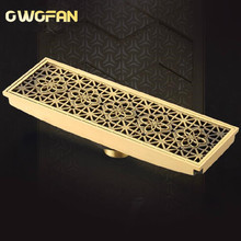 цена на Free shipping 20cm x 8cm Euro Style Antique Brass Art Carved Brass Floor Drain Cover Shower Waste Drainer DR088