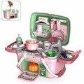 30 шт./компл. Детские кухонные игрушки, чемодан для приготовления еды, игрушка для ролевых игр, электрическая вода, детский Домашний набор, по...