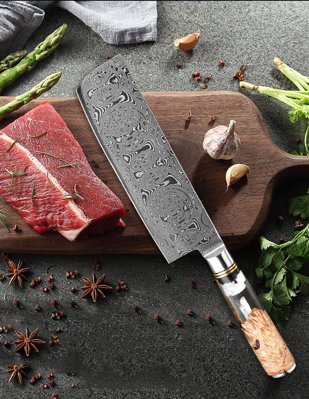 Damascus Meat Cleaver, Natural Color Wood