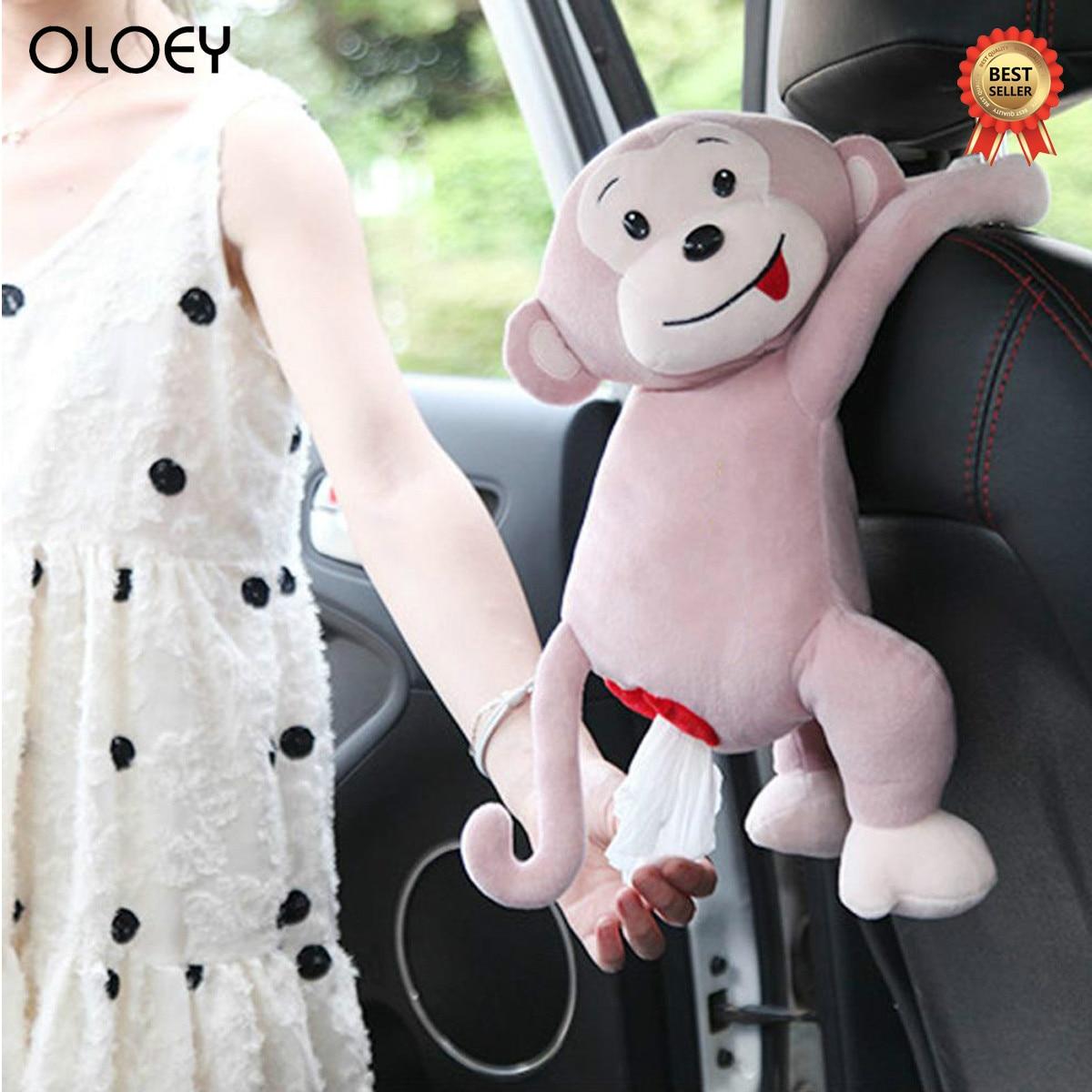 2019 Creative Tissue Box Pippi Monkey Paper Napkin Case Cute Cartoon Animals Car Paper Boxes Napkin Holder Organizers Box