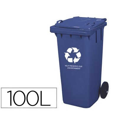 BIN CONTAINER Q-CONNECT PLASTIC WITH TAPADERA 100L COLOR BLUE 800X510X525 MM WITH WHEELS