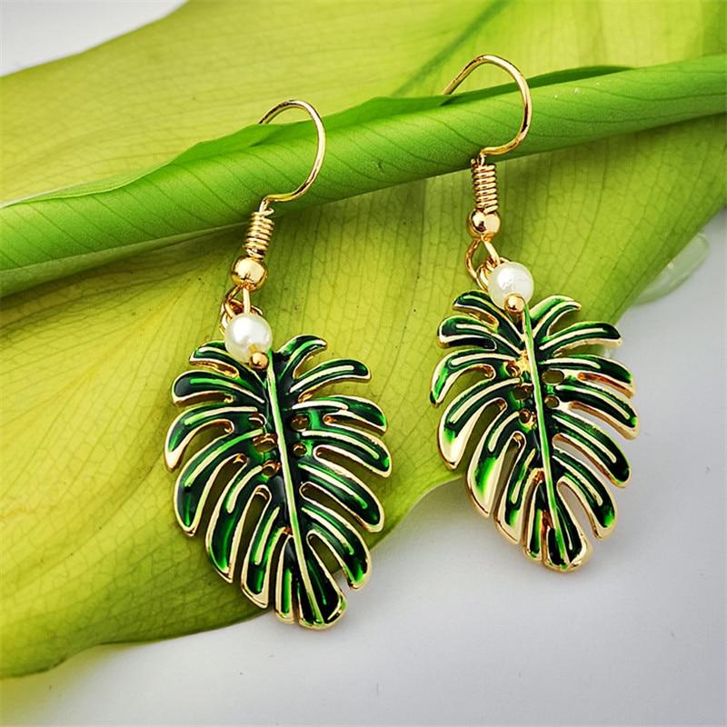 Boho Tropical Green Enamel Coconut Leaf Pearl Drop Earrings For Women Jewelry Statement Brincos Gold Dangle Earings Mujer Bijoux