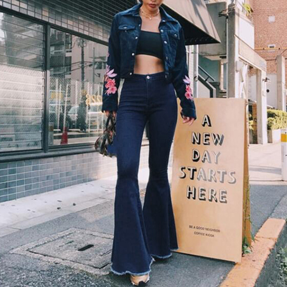 Puimentiua Skinny High Waist Denim Flare Pants Women Street Style Blue Sexy Vintage Femme Flared Trouser Bell Bottom Jeans Fall