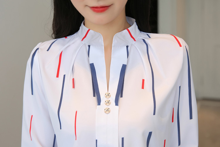 H260410f977d2496b9268bddd4b93b007Q - Women Fashion White Tops and Blouses Stripe Print Design Casual Long Sleeve Office Lady Work Formal Shirts Female Plus Size