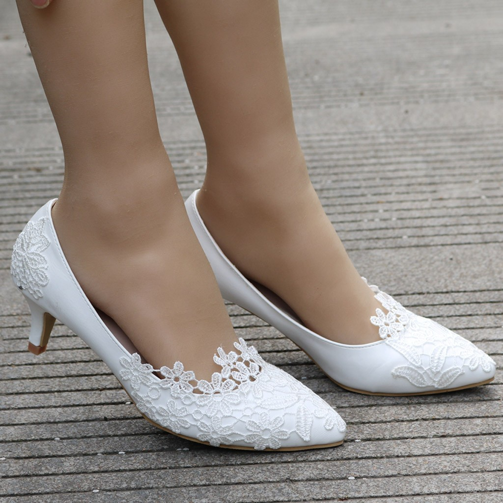 White Lace High Heels Wedding Shoes bride Party Shoes Women Pumps Ladies High Heels Bridal Shoes big size