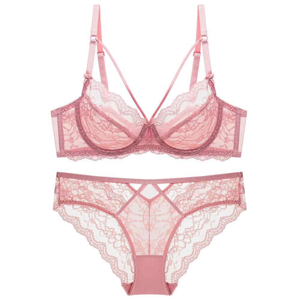 Bra Set For Women Plus Size Transparent Ultra thin Strappy Cup Floral Underwire brassiere Lingerie Women Pink E cupBra & Brief Sets   -