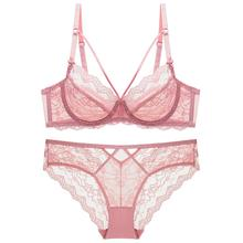 Bra Set For Women Plus Size Transparent Ultra thin Strappy Cup Floral Underwire brassiere Lingerie Women Pink E cup