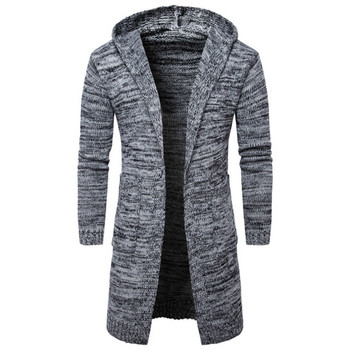 Hot Clothes Fashion Male Sweater Men Hooded Knitted Cardigan Mens Sweaters Casual Solid Hooded Cardigans Coat Slim Fit Outwear rebicoo sweater men jumper acrylic fashion solid long sleeve hooded pockets tops sweater blouse outwear mens sweaters