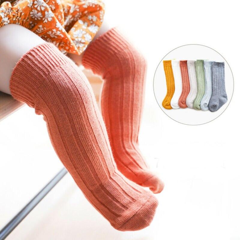 Fashion Kids Toddler Infant Baby Girls Boys Solid Anti-Slip Knitted Long Socks Knee Sock