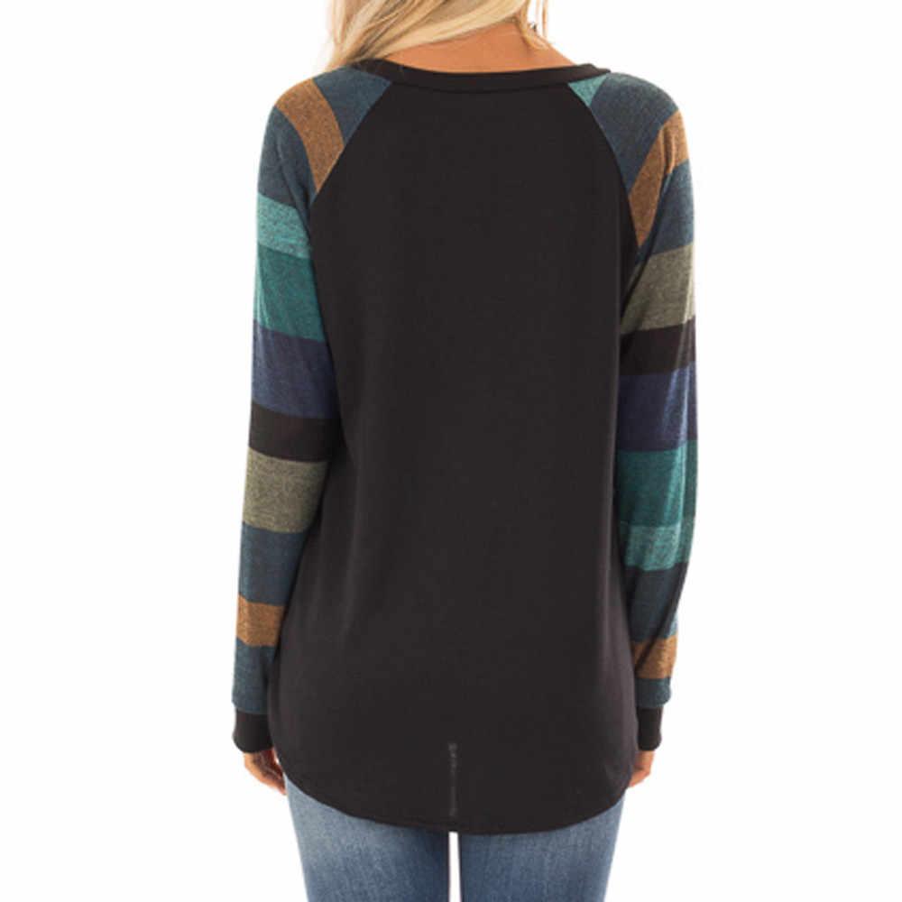 20 # mode Vrouwen Streep Casual Top Shirt Dames Losse O Hals Lange Mouw Top Blouse Vrouwen Zomer Casual shirt 2020