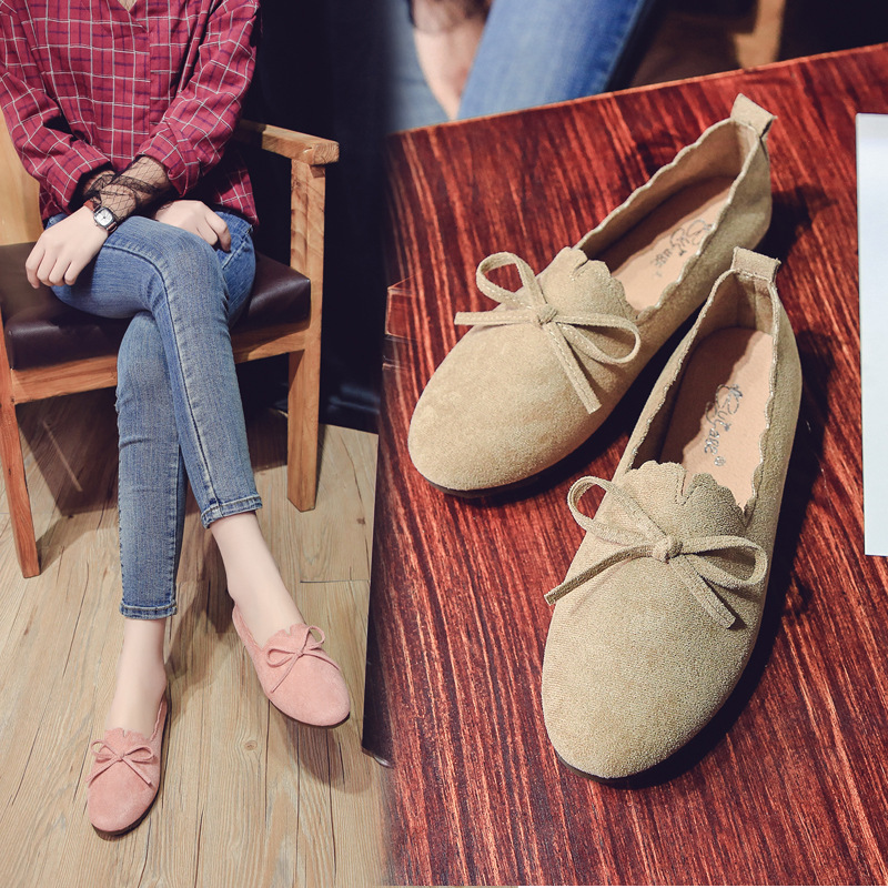 Flat Keel Thin Shoes Women's Spring And Autumn Students Versatile Round-Toe Love Korean-style Retro Flat Heel Bow Low-Cut Four S