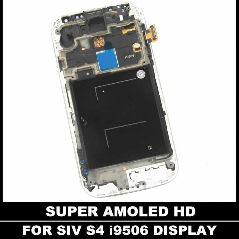استبدال مع الإطار ل سامسونج غالاكسي SIV S4 i9506 سوبر AMOLED شاشة الكريستال السائل مجموعة المحولات الرقمية لشاشة تعمل بلمس شحن الزجاج