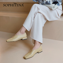 SOPHITINA Women New Flats Square Toe Loafers Shallow Comfort