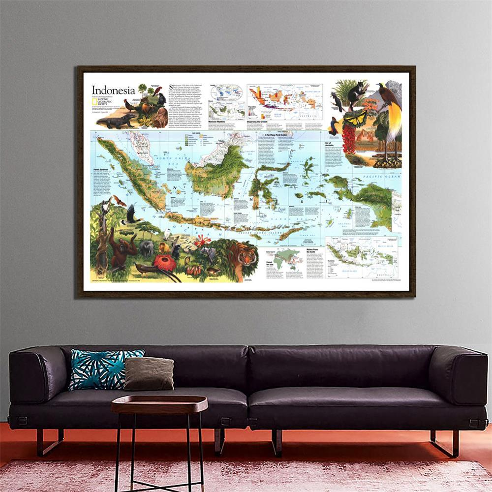 Indonesia Peta 150x100 Cm Peta Peta Hiasan Dinding Sekolah Kantor Tahan Air Non-woven