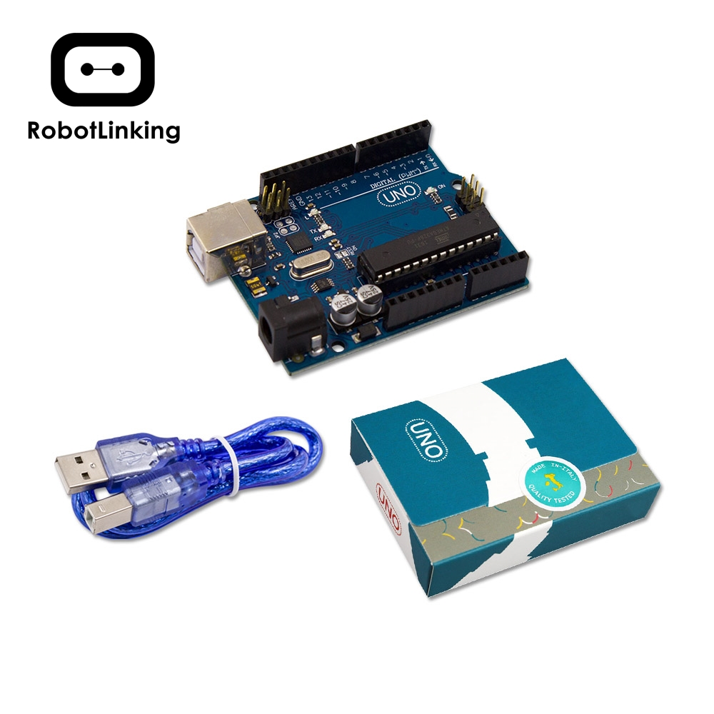 RobotLinking UNO R3 For Arduino MEGA328P Original Chip ATMEGA16U2 With USB Cable + UNO R3 Retail Box