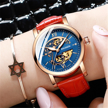 HAIQIN Mechanical Watch Automatic Women Watch Gold Lady Skeleton Relojes Mujer Ladies Watches Girl Dress Clock Montre Femmme