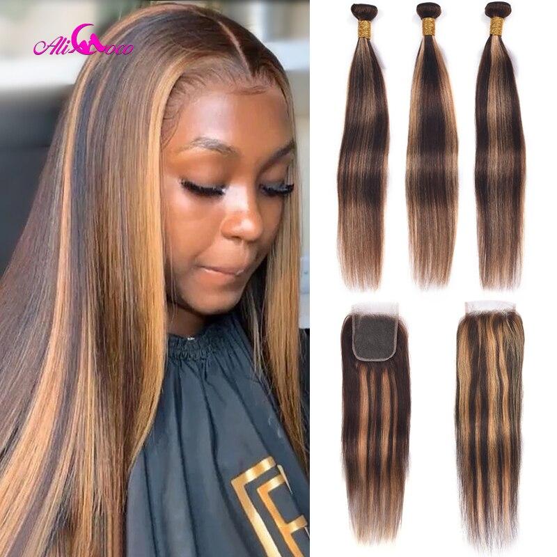 Ali coco pacotes de cabelo ombre brasileiro com fecho p4/30 feixes de cabelo humano com fechamento destaque cor remy tecer cabelo pacotes