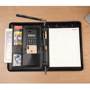 Image 4 - A4 בכיר עור מפוצל padfolio עסקים מנהל מסמך תיק תיק קובץ תיקיית עם נעילת סיסמא מחשבון רוכסן קליפ 1321
