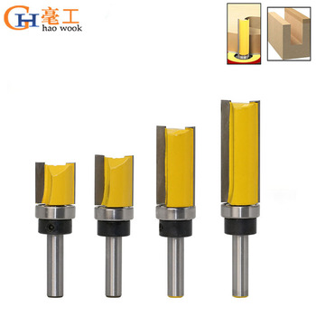 цена на 8mm Shank Template Trim Hinge Mortising Router Bit Straight End Mill Trimmer Cleaning Flush Trim Tenon Cutter for Woodworking