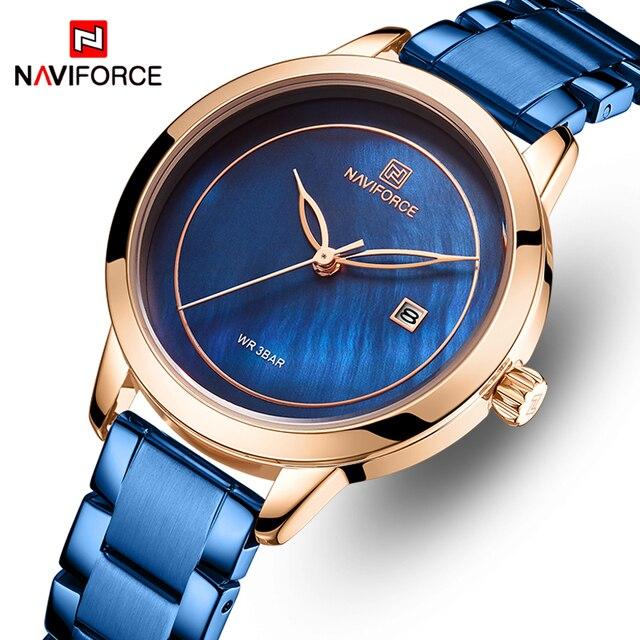 נשים שעונים NAVIFORCE למעלה מותג יוקרה שעון קוורץ עמיד למים נשים של שעוני יד גבירותיי בנות אופנה שעון relogios feminino