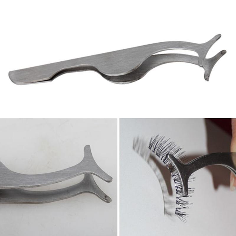 1pc False Eyelash Tweezers Fake Eye Lash Applicator Eyelash Extension Curler Nipper Auxiliary Clip Clamp Makeup Forceps Tool New