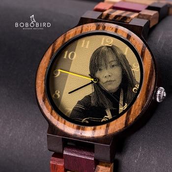 Relojes madera hombre y mujer con impresión de imagen personalizada para parejas 2