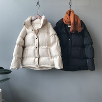 Hot Sale Down Jacket Pure Color with Thick Down Clothes Stand Collar Cotton padded Jacket White Black Women Loose Thick Clothes