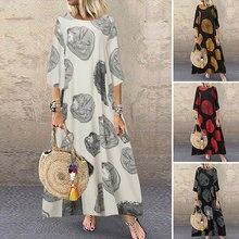 Bohemian plaj Maxi elbise bayan baskılı yaz Sundress ZANZEA 2021 rahat Polka Dot Baggy Sarafans Vestidos artı boyutu elbise
