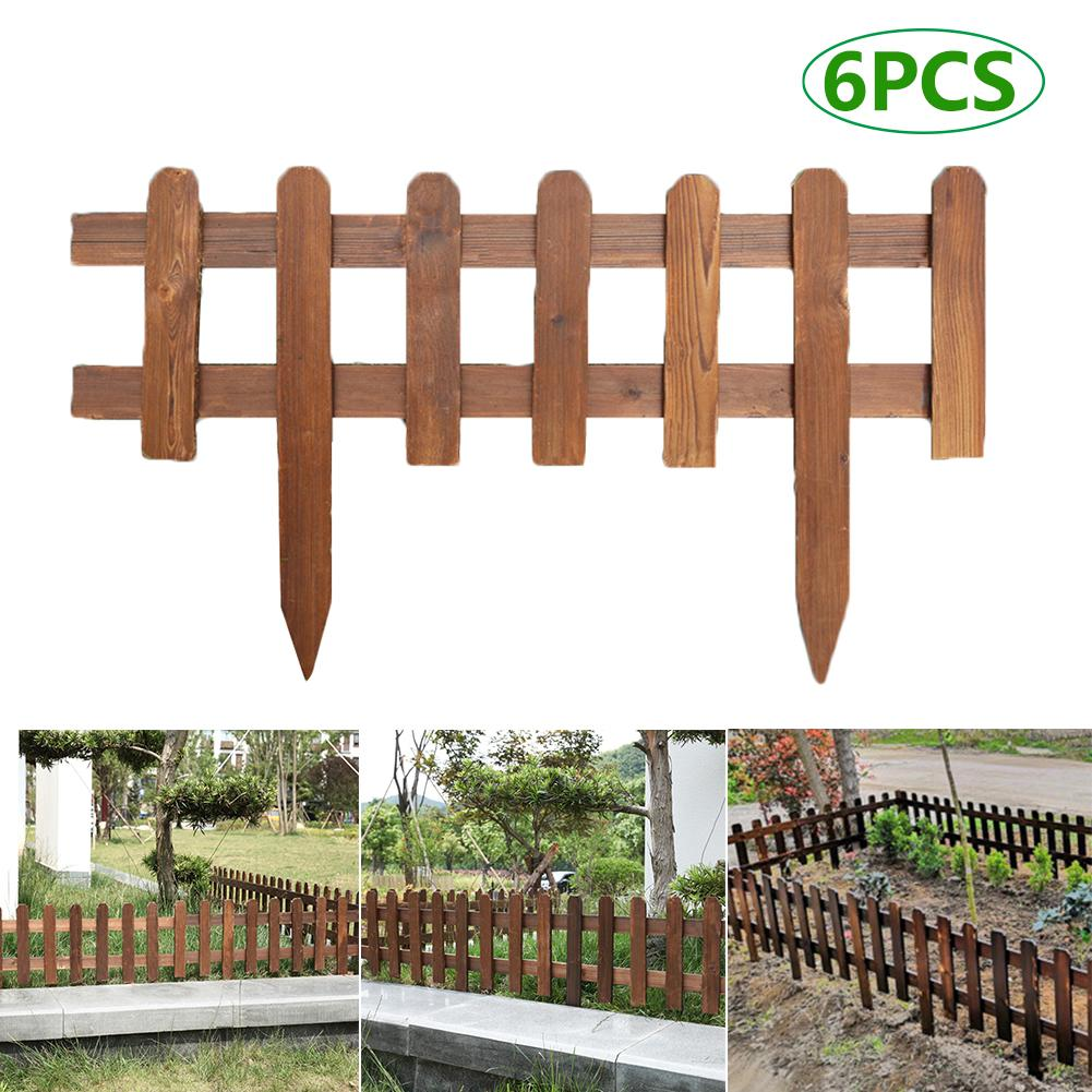 6pcs Anti-corrosion Solid Wood Fence Garden Lawn Fence Edging Fencing for Outdoors Courtyard Park