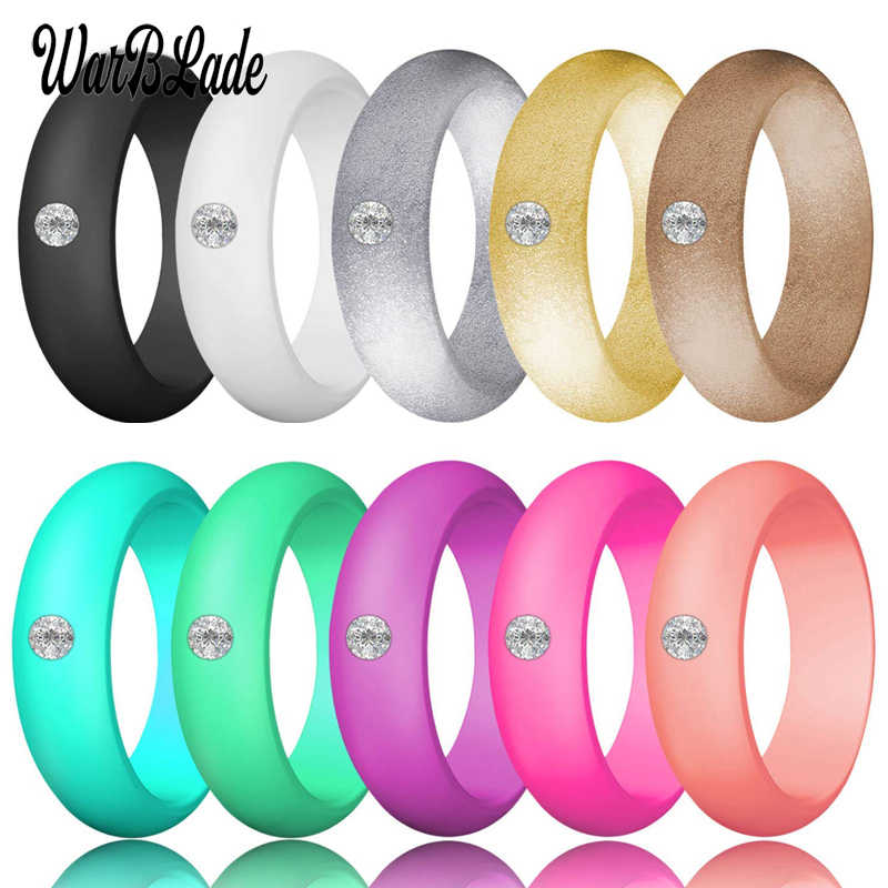 New Fashion 5.7mm Rhinestone Silicone Rings For Women Wedding Rubber Bands Hypoallergenic Crossfit Flexible Silicone Finger Ring