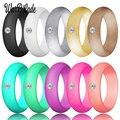 Новая мода 5,7 мм Стразы силиконовые кольца для женщин Свадебные резинки гипоаллергенные кроссфиты гибкие силиконовые кольца на палец