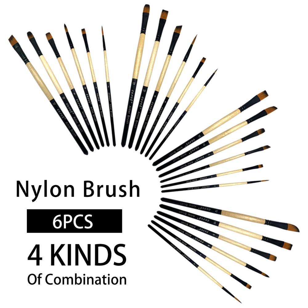 COROT 6PCS Paint Brushe Set Nylon Hair Painting Brush Different Head Short Rod Oil Acrylic Brush Watercolor Brush Art Supplies
