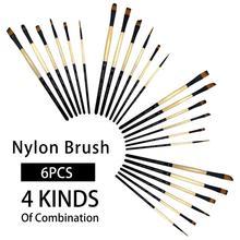 Brushe-Set Painting-Brush Art-Supplies Nylon-Hair 6PCS Short Rod-Oil Different-Head COROT