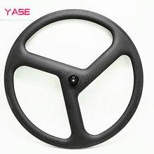 цена на 700c carbon Bicycle wheels 3 spokes road Bicycle wheels Fixed gearc clincher road bike spokes wheels 3 spokes 3K UD