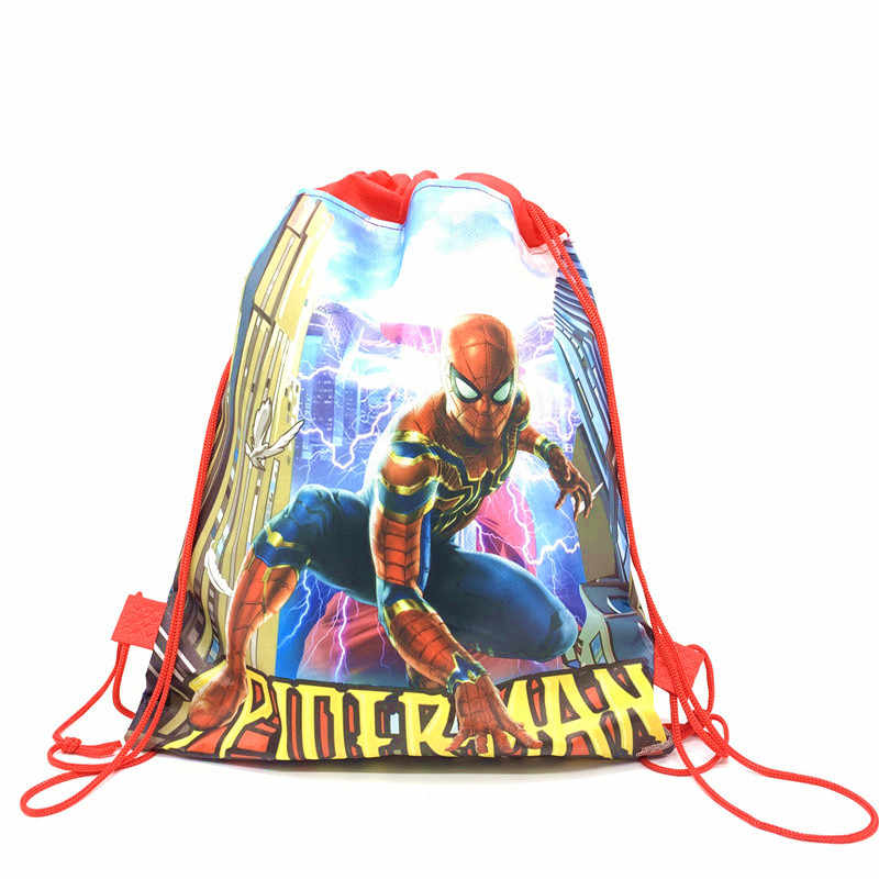 1 Pcs Spider-Man/Batman Coulisse Borse di Disegno Del Fumetto Coulisse Sacchetti di Bambini Ragazzo Favore Spiderman Borse Spider Man decorazione Del Partito