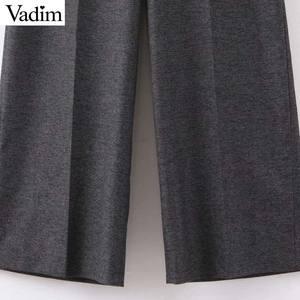 Image 4 - Vadim femmes élégant solide jambe large pantalon côté fermeture éclair style européen femme tenue de bureau pantalon décontracté pantalons mujer KB227