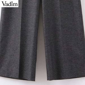 Image 4 - Vadim women elegant solid wide leg pants side zipper European style female office wear casual trousers pantalones mujer KB227