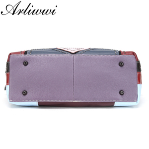 Image 4 - Arliwwi Genuine First Layer of Cow Leather Shoulder Bags Women Luxury New Rivet Real Leather Messenger Handbags For Female GM02