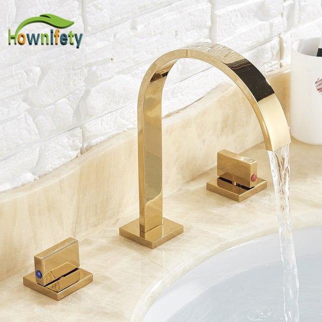 Golden Badkamer Wastafel Kraan Warm En Koud Water Kraan Drie Gaten Twee Handvat Mixers Tap Deck Mount Wassen Bad Fauctes